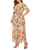 hesapli Büyük Beden Elbiseleri-Kadın's Boho Sokak Şıklığı Şifon Elbise - Çiçekli, Dantel Bağcık Desen Maksi