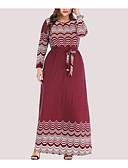 hesapli Kadın Elbiseleri-Kadın's Temel A Şekilli Elbise - Yuvarlak Noktalı Geometrik, Desen Maksi