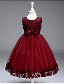 זול שמלות לילדות פרחים-נסיכה באורך  הברך שמלה לנערת הפרחים  - כותנה / פוליאסטר / טול ללא שרוולים עם תכשיטים עם אפליקציות על ידי LAN TING Express