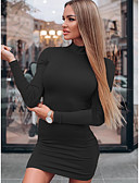 hesapli Print Dresses-Kadın's Temel Bandaj Elbise - Solid Mini