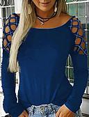 hesapli Kadın Kazakları-Kadın's Tişört Solid Siyah