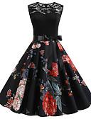 hesapli Kadın Elbiseleri-Kadın's Vintage A Şekilli Elbise - Çiçekli, Desen Diz-boyu