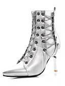 povoljno Ženska odjeća-Žene Čizme Stiletto potpetica Krakova Toe PU Čizme gležnjače / do gležnja Jesen zima Crn / Srebro