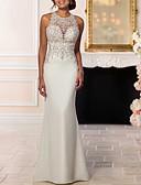 זול חליפות לנושאי הטבעת-בתולת ים \ חצוצרה קולר שובל סוויפ \ בראש תחרה / סאטן שמלות חתונה עם חרוזים על ידי LAN TING Express