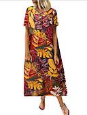 hesapli Print Dresses-Kadın's Kombinezon Elbise - Çiçekli, Kırk Yama Diz-boyu
