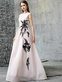 hesapli Gece Elbiseleri-A-Şekilli Taşlı Yaka Yere Kadar Polyester Aplik ile Resmi Akşam Elbise tarafından LAN TING Express / Pullu ve Işıltılı