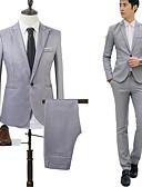 זול חליפות-כחול סקיי / חאקי / כחול ים אחיד גזרה מחוייטת כותנה חליפה - פתוח Single Breasted One-button