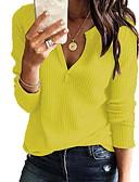 お買い得  レディースセーター-女性用 ソリッド 長袖 プルオーバー, Vネック グレー / イエロー / ワイン XXXL / XXXXL / XXXXXL