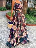 cheap Women's Skirts-Women's Street chic Elegant Swing Dress - Floral Patchwork Navy Blue M L XL