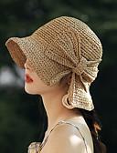 hesapli Kadın Kazakları-Kadın's Actif Temel sevimli Stil Triko Fedora Şapka Kıvırılan Şapka Zıt Renkli Tüm Mevsimler Doğal Pembe Bej Haki
