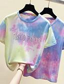 hesapli Tişört-Kadın's Pamuklu Tişört Desen, Solid / Zıt Renkli / Batik Temel / Sokak Şıklığı YAKUT