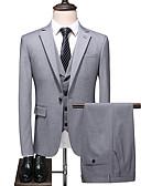 hesapli Takım Elbiseler-Gri Solid Standart Kalıp Polyester Takım elbise - Çentik Tek Sıra Düğmeli Bir Düğme