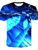 hesapli Erkek Tişörtleri ve Atletleri-Erkek Yuvarlak Yaka Tişört Desen, 3D Temel Büyük Bedenler Navy Mavi / Kısa Kollu