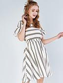 hesapli Mini Elbiseler-Kadın's Gömlek Elbise - Çizgili, Desen Diz-boyu