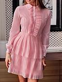 hesapli Mini Elbiseler-Kadın's A Şekilli Elbise - Solid, Dantel Diz üstü