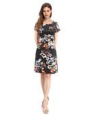 hesapli Mini Elbiseler-Kadın's Gömlek Elbise - Çiçekli, Desen Diz-boyu
