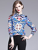 abordables Chemises Femme-Chemise Femme, Graphique Imprimé Vacances Rétro Vintage / Elégant Col de Chemise Bleu & blanc Bleu Roi