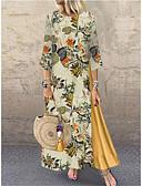 hesapli Büyük Beden Elbiseleri-Kadın's Vintage Çan Elbise - Geometrik Maksi
