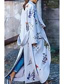 hesapli Kadın Kabanları ve Trençkotları-Kadın's Günlük Sonbahar Kış Uzun Kaban, Geometrik Çentik Yaka Uzun Kollu Polyester Beyaz / İnce