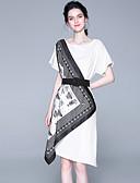 hesapli Kadın Elbiseleri-Kadın's Boho Kılıf Elbise - Kabile, Desen Diz-boyu Siyah ve Beyaz