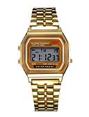 זול פלדת אל חלד-בגדי ריקוד גברים שעוני שמלה שעון צמיד שעון יד דיגיטלי מתכת אל חלד כסף / זהב שעונים יום יומיים דיגיטלי קסם - כסף מוזהב