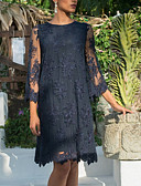 hesapli Büyük Beden Elbiseleri-Kadın's Sokak Şıklığı Kombinezon Elbise - Geometrik, Dantel Desen Diz-boyu