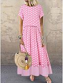 hesapli Print Dresses-Kadın's İnce Kılıf Elbise - Yuvarlak Noktalı Maksi