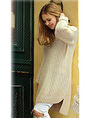ieftine Tricou-Pentru femei Mată Manșon Lung Cardigan, Rotund Primăvară / Toamnă Bej Mărime unică
