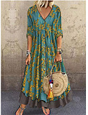 hesapli Print Dresses-Kadın's Zarif A Şekilli Elbise - Çiçekli, Payetler Desen Derin V Maksi