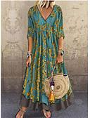 povoljno Ženske haljine-Žene Elegantno A kroj Haljina - Šljokice Print, Cvjetni print Duboki V Maxi