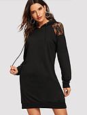 hesapli Kadın Elbiseleri-Kadın's Sokak Şıklığı Kombinezon Elbise - Solid, Dantel Kırk Yama Diz üstü