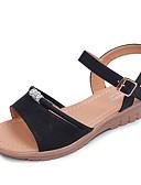 hesapli Seksi Organlar-Kadın's Sandaletler Dolgu Topuk Burnu Açık Toka Süet Tatlı Yürüyüş İlkbahar yaz / Sonbahar Kış Siyah / Yeşil / Pembe