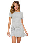 hesapli Mini Elbiseler-Kadın's Temel Kılıf Elbise - Solid, Bağcık Mini