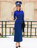 billiga Damklänningar-Dam Vintage Elegant Bodycon Mantel Klänning - Enfärgad, Öppen rygg Rosett Plisserad Midi Svart Blå