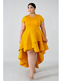 hesapli Büyük Beden Elbiseleri-Kadın's A Şekilli Elbise - Solid Asimetrik