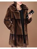 billige Kvinner Fur & Faux Fur Coats-Dame Daglig Grunnleggende Normal Faux Fur Coat, Ensfarget Aftæpning Langermet Fuskepels Rød / Brun