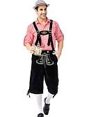 hesapli Oktoberfest-Kasım Festivali Kıyafetler Lederhosen Erkek Kadın's Bluz Pantalonlar Bavyera Kostüm Kırmızı / siyah Kırmızı+Kahverengi Yeşil / Siyah
