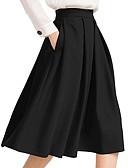 hesapli İki Parça Kadın Takımları-Kadın's A Şekilli Etekler - Solid Siyah XS S M