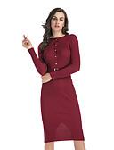 hesapli Sweater Dresses-Kadın's Sokak Şıklığı A Şekilli Bandaj Elbise - Solid Diz-boyu