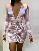 رخيصةأون فساتين قصيرة-فستان نسائي ثوب ضيق أساسي فوق الركبة لون سادة
