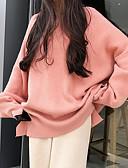 abordables Pulls & Gilets Femme-Femme Couleur Pleine Manches Longues Pullover, Col Arrondi Rose Claire / Beige / Gris Taille unique