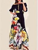 hesapli Print Dresses-Kadın's Temel Çan Elbise - Çiçekli, Desen Maksi