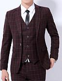 hesapli Erkek Blazerları ve Takım Elbiseleri-Erkek Suit, Solid Gömlek Yaka Polyester Şarap / Havuz / Koyu Gri US32 / UK32 / EU40 / US34 / UK34 / EU42 / US36 / UK36 / EU44