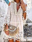 hesapli Mini Elbiseler-Kadın's Kombinezon Elbise - Solid, Püskül V Yaka Diz üstü