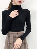 baratos Suéteres de Mulher-Mulheres Sólido Manga Longa Pulôver, Gola Redonda Preto / Branco / Rosa S / M / L