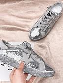 זול סטים של ביגוד לבנות-בגדי ריקוד נשים נעלי ספורט שטוח בוהן עגולה קנבס קיץ לבן / כסף / אפור