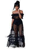 hesapli Maksi Elbiseler-Kadın's Boho sofistike A Şekilli Şifon Çan Elbise - Solid Çizgili, Arkasız Büzgülü Örümcek Ağı Maksi Siyah Beyaz Kırmızı