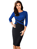 hesapli NYE Elbiseleri-Kadın's Temel sofistike Bandaj Kılıf Elbise - Solid Zıt Renkli, Kırk Yama Diz-boyu