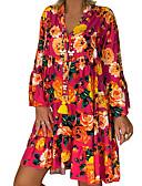 hesapli Print Dresses-Kadın's Temel Kombinezon Elbise - Geometrik Diz üstü