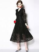 hesapli Romantik Dantel-Kadın's Temel Zarif A Şekilli Kılıf Çan Elbise - Solid, Dantel Şalter Kırk Yama Midi Siyah Mavi